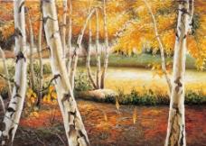 树林白桦树油画