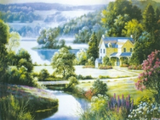 乡村小屋油画唯美风景篇