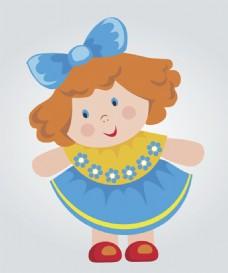 卡通洋娃娃玩偶矢量素材