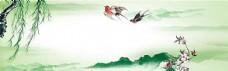 中式山水花鸟水墨海报淘宝背景
