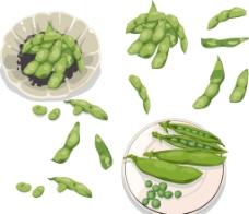 矢量绿色 豌豆图片