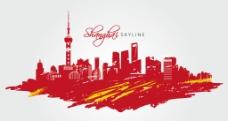 上海手绘彩色城市矢量图片