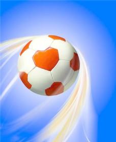 飞行的橙色足球