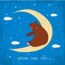 熊坐在月亮的背景