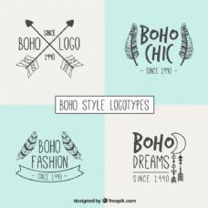 时尚的波希米亚风格的标志