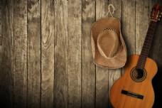 复古吉他帽子平面模板