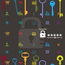 彩色钥匙和密码
