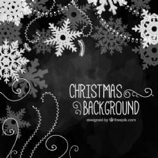 手绘黑色圣诞背景