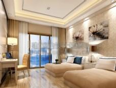 欧式酒店客房3D模型素材