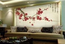 梅中式背景墙
