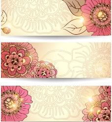典雅花纹底纹横幅图片