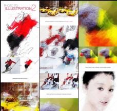 数码照片转油画插图效果PS动作V2