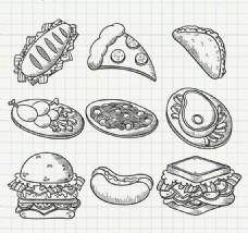 9款手绘美味食物矢量素材