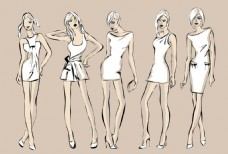 手绘时尚模特