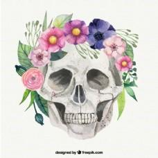 手画的头骨与花