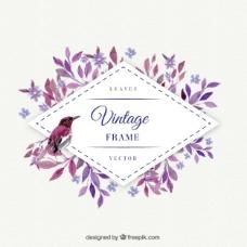 紫红色叶与鸟水彩