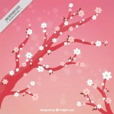 手绘樱桃树背景