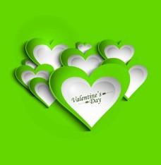 绿色背景下的情人节心形