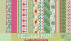 彩色圆点和小树苗背景填充图案