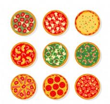 美味披萨俯视图矢量图片 AI