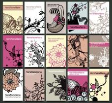 古典花纹花朵卡片设计矢量素材