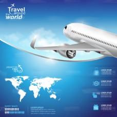 蓝色科技大型客机矢量素材