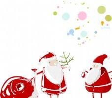 卡通圣诞老人 彩色圆圈图片