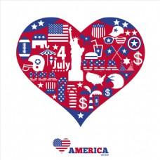 美国心形背景与扁平元素