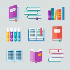 彩色书本矢量素材
