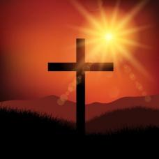 美好的星期五复活节景观与十字架