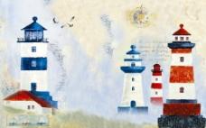 地中海灯塔背景