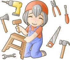 可爱木工女孩矢量人物