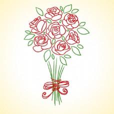 手绘红玫瑰花束