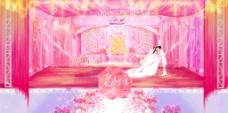 粉红色浪漫婚庆场景手绘设计