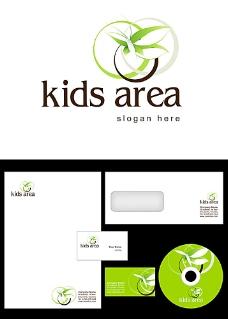 绿色蝴蝶和圆圈logo设计