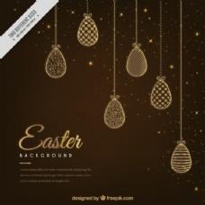 优雅的复活节蛋饰品背景