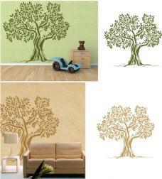 橄榄树背景墙激光切割图