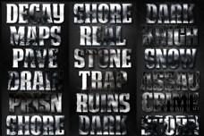 颓废风格电影主题字体设计PS样式V3