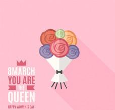创意花束妇女节贺卡矢量素材图片