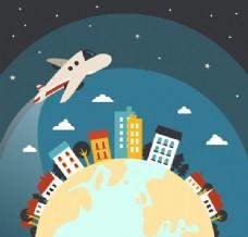 环绕地球飞翔的飞机矢量素材下载