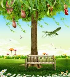 春季清新广告背景设计PSD分层素材