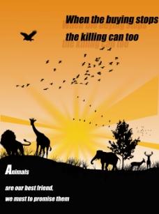 野生动物公益性广告海报