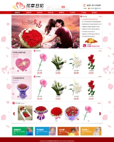 红色花卉网站图片