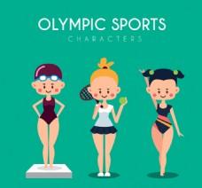 漂亮的运动女孩在奥运会