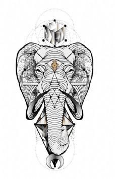 大象纹身民族元素线描手绘
