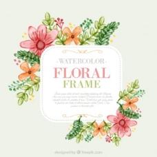 水彩可爱花与叶花标签