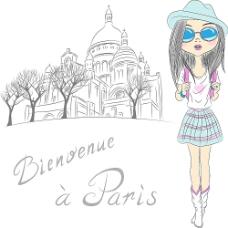 戴着墨镜旅游的女孩