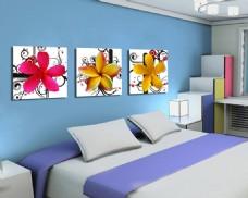 清新水滴花朵装饰画