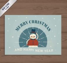 圣诞雪人贺卡矢量素材
