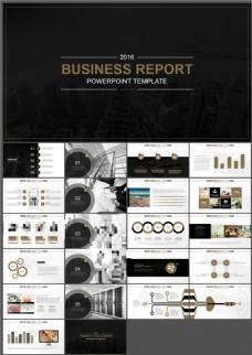 高端酷黑商务报告PPT模板